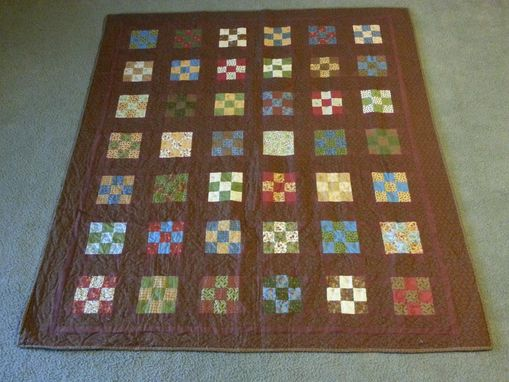 Custom Made Multi-Colors And Brown Quilt