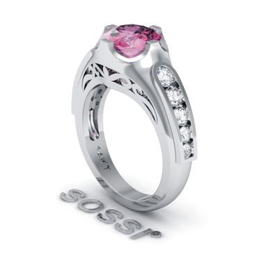 Custom Made Modern 14k White Gold Diamond And Pink Sapphire Engagement Ring 3.10ct