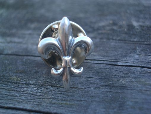 Handmade Tie Tack Lapel Pin With Fleur De Lis By Donna