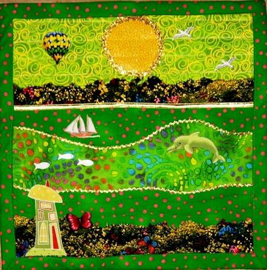 "Custom Made Quilted Landscape Wall Hanging - ""Little Spring"""