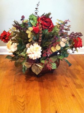 Custom Made Traditional Italian Designed Floral Arrangement In Fleur De Lis Metal Container
