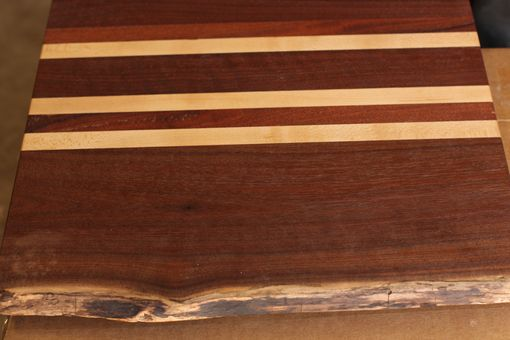 Custom Made Live Edge Walnut Cutting Board With Cherry / Maple Inlays