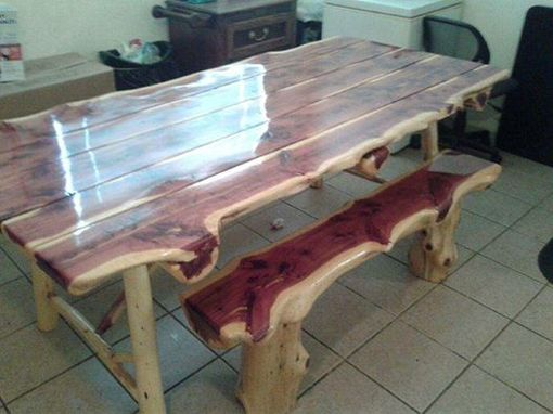 Custom Made Live Edge Dining Table And Benches