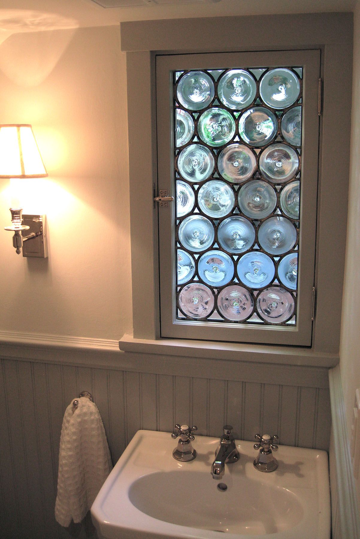 Handmade Stained Glass Rondel Bathroom Window By Painted