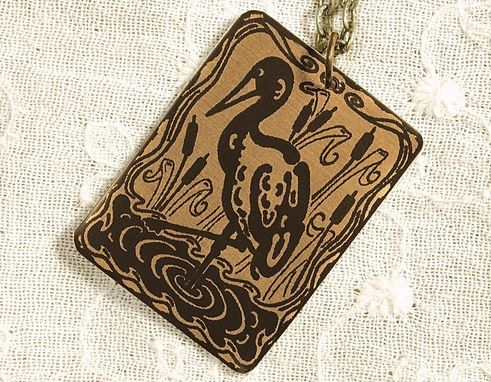 Custom Made Crane Necklace - Etched Fused Glass On Bronze Jewelry