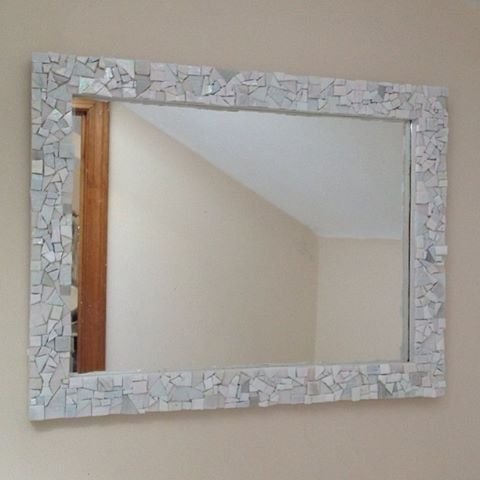 Custom Made Mosaic Wall Mirror White By Live In Mosaics