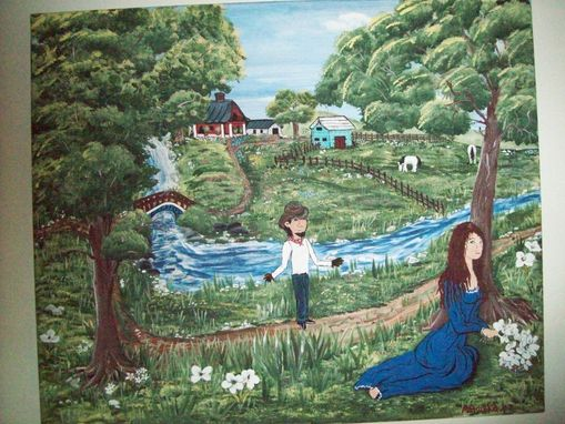 Custom Made Original Painting On Canvas Titled: April Under The Tree