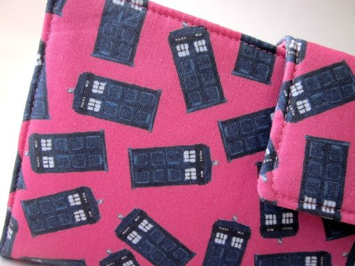Custom Made Handmade Women Bifold Pink Wallet Doctor Who Small Blue Tardis Id Clear Pocket Ready To Ship