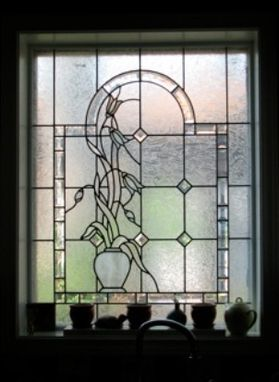 Custom Made Stained Glass Window In Private Residence Dallas Texas.