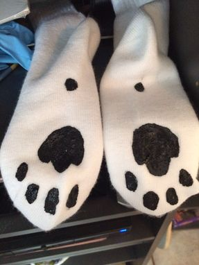 Custom Made Hand Painted Cat Socks With Paw Bottoms