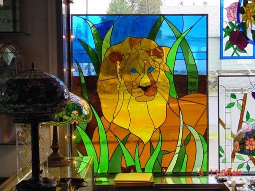 Custom Made Stained Glass Lion Window