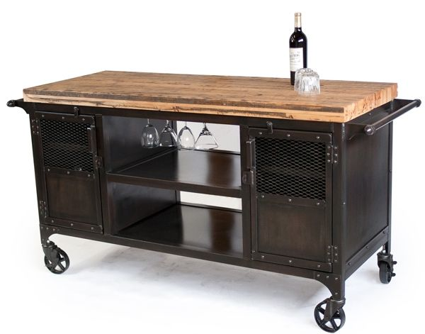 Custom made industrial home bar reclaimed wood coffee cart mini bar wine cabinet kitchen - Industrial kitchen island for sale ...