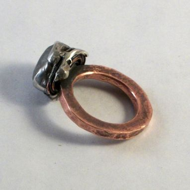 Custom Made Sterling Silver And Copper Beach Rock Ring