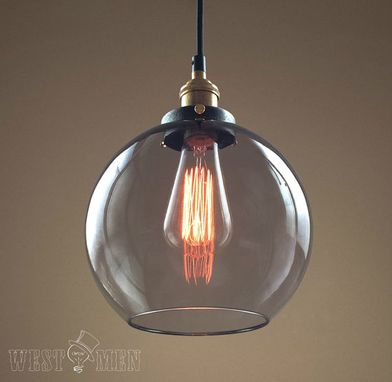 Custom Made Westmenlights Globe Clear Glass Pendant Hanging Light Copper Lampholder Bubble Kitchen Dining Lamp