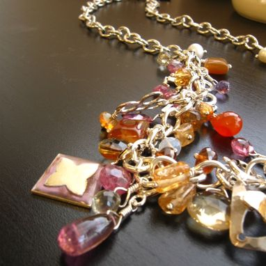 Custom Made One Of A Kind Sterling Silver Tudor Charm Necklace With Natural Stones In Pinks And Oranges