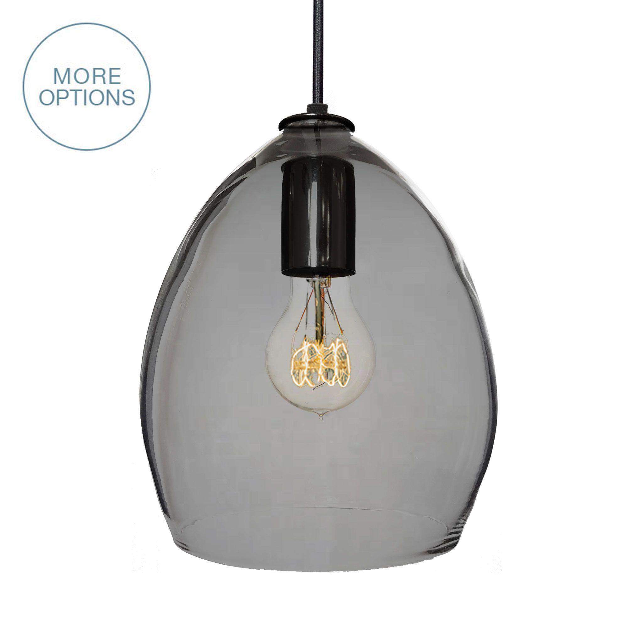 Glass Lighting Pendants Elegant Hand Blown Or Pendant: Custom Hand Blown Smoke Grey Glass Pendant Light By