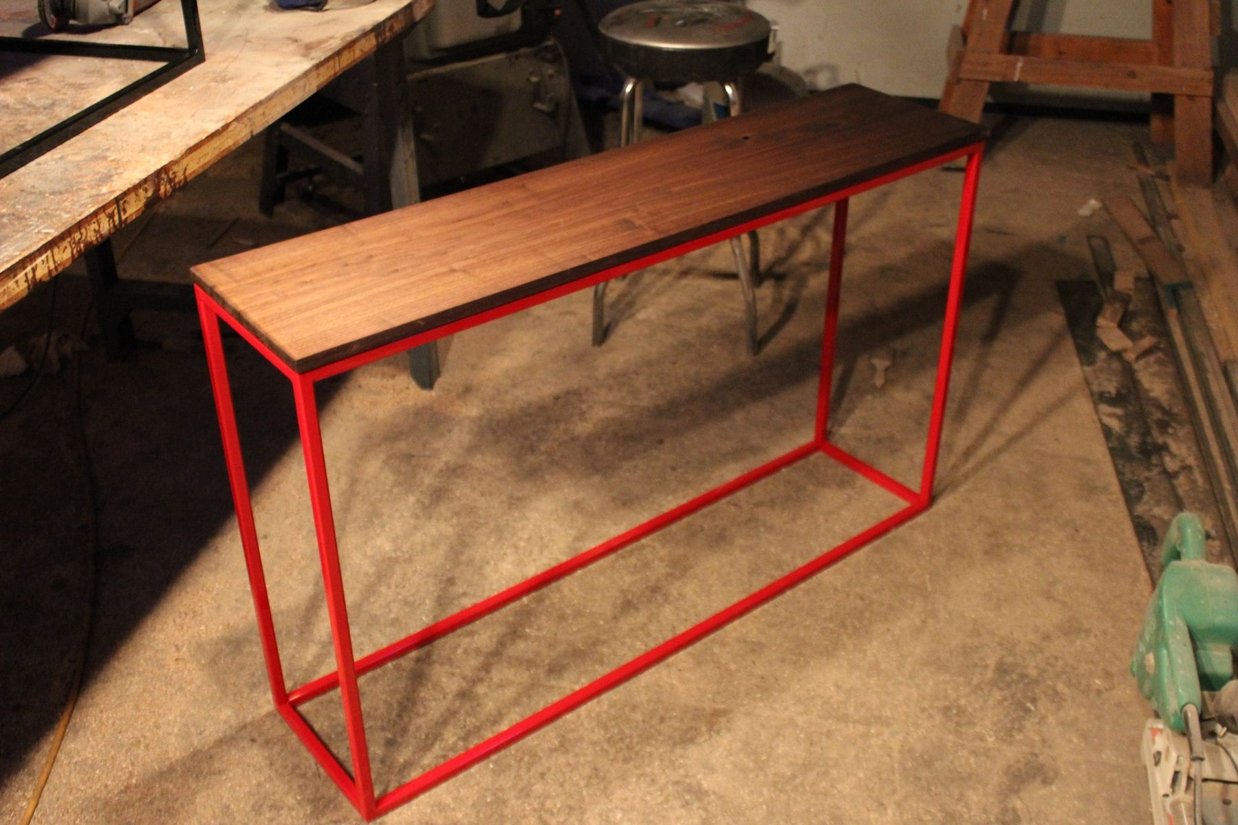 Red Console Table handmade black walnut console table with red steel basek