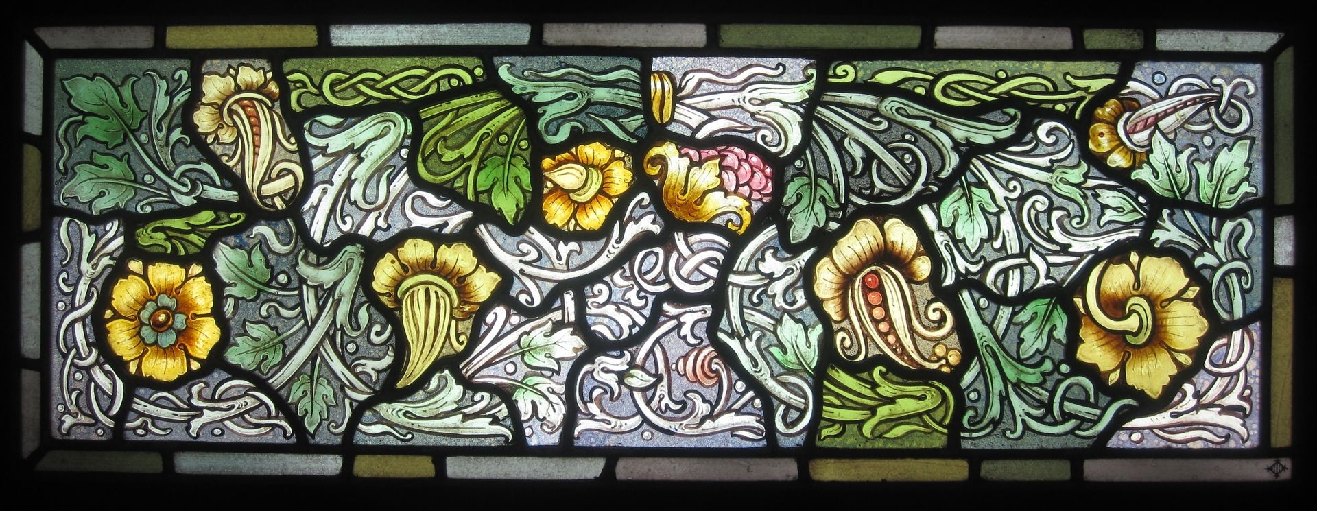 Hand Crafted Vines Leaves And Flowers Stained Glass By