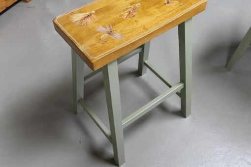 Custom Made Custom Painted Fly Fishing Kitchen Stools