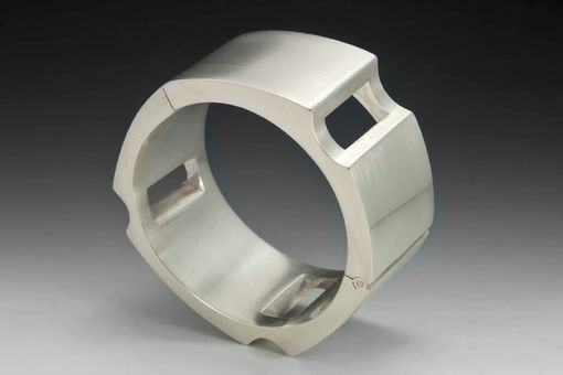 Custom Made Modern, Hinged, Hollow-Formed Sculptural Bracelets In Sterling Silver
