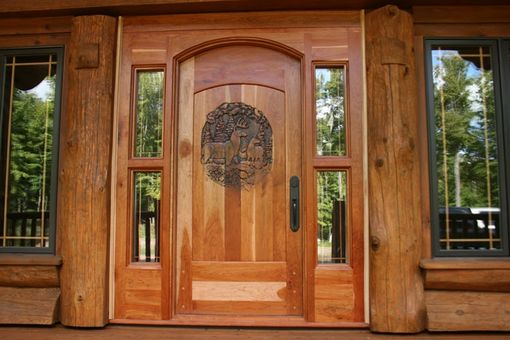 "Custom Made Hand Carved Entry Door. 2 5/8"" Thick Cherrywood Door, Custom Built To Any Size. Choose Any Theme. Finest Hardware. All Jambs, Glass Included. Shipped Anywhere, Ready For Installation."