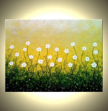 Custom Made Original Flowers Painting, Abstract White Daisies, Textured Impasto Blossoms, Contemporary Abstract