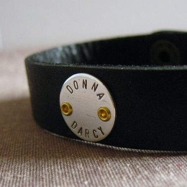 Custom Made Leather And Sterling Cuff