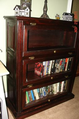 Custom Made Glass Door Traditional Style Bookshelf / Mahogany Finish And Raised Panel Sides