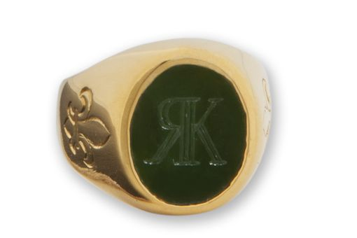 Custom Made Canada Jade And 14k Gold Monogram Ring