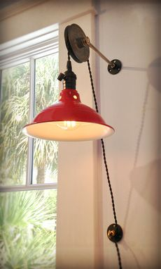 Custom Made Reclaimed Adjustable Wall Mount Barn Light - Recovered Industrial Pulley Sconce