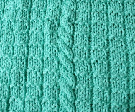 Custom Made Knitted Baby Blanket Mint Green Cable Afghan Warm