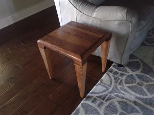 Custom Made Walnut And Beech End Table