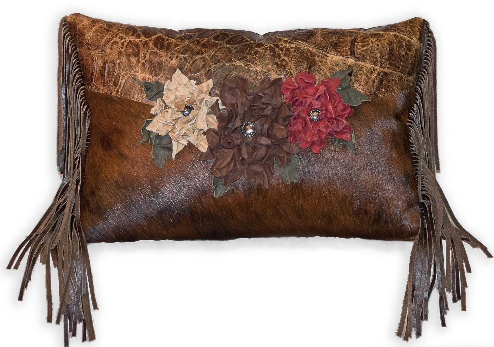 Hand Made Cowhide Pillow With Handmade Leather Flowers By