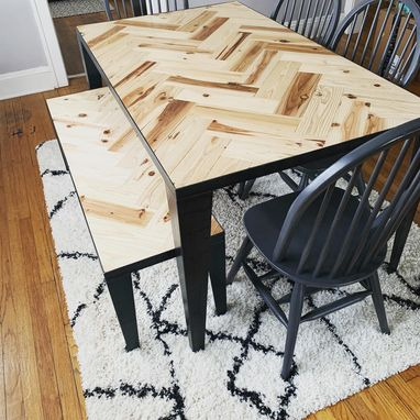 Custom Made Herringbone Dining Table And Bench