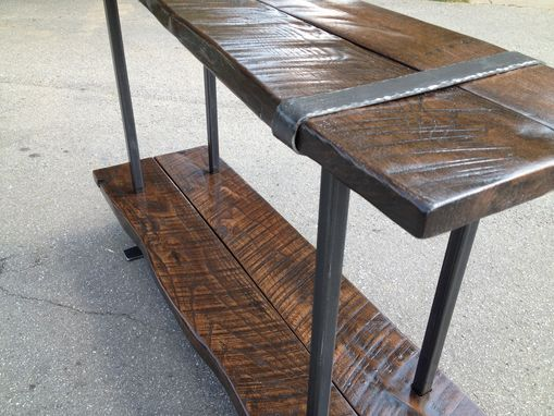 Custom Made Reclaimed Oak & Steel Console Table