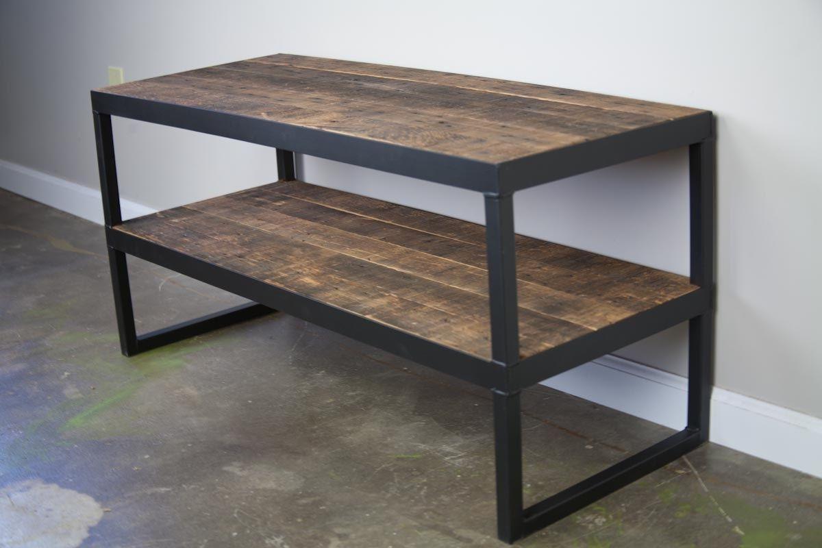 Custom Made Industrial Tv Stand Reclaimed Wood Steel Minimalist Urban Design Media