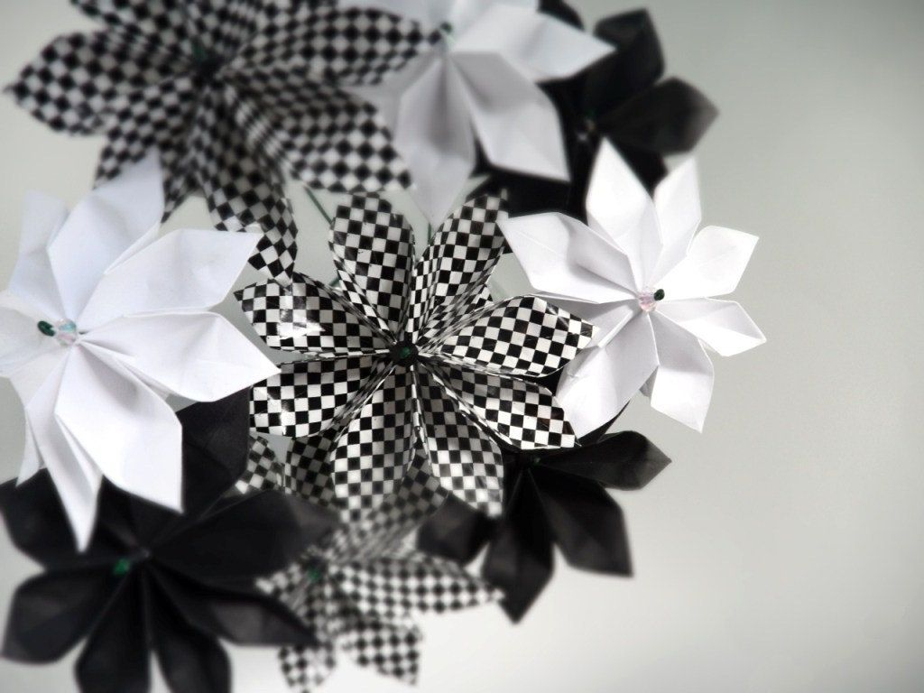 Hand crafted black and white starburst whimsical origami paper hand crafted black and white starburst whimsical origami paper flower bouquet by dear betsy custommade izmirmasajfo Choice Image