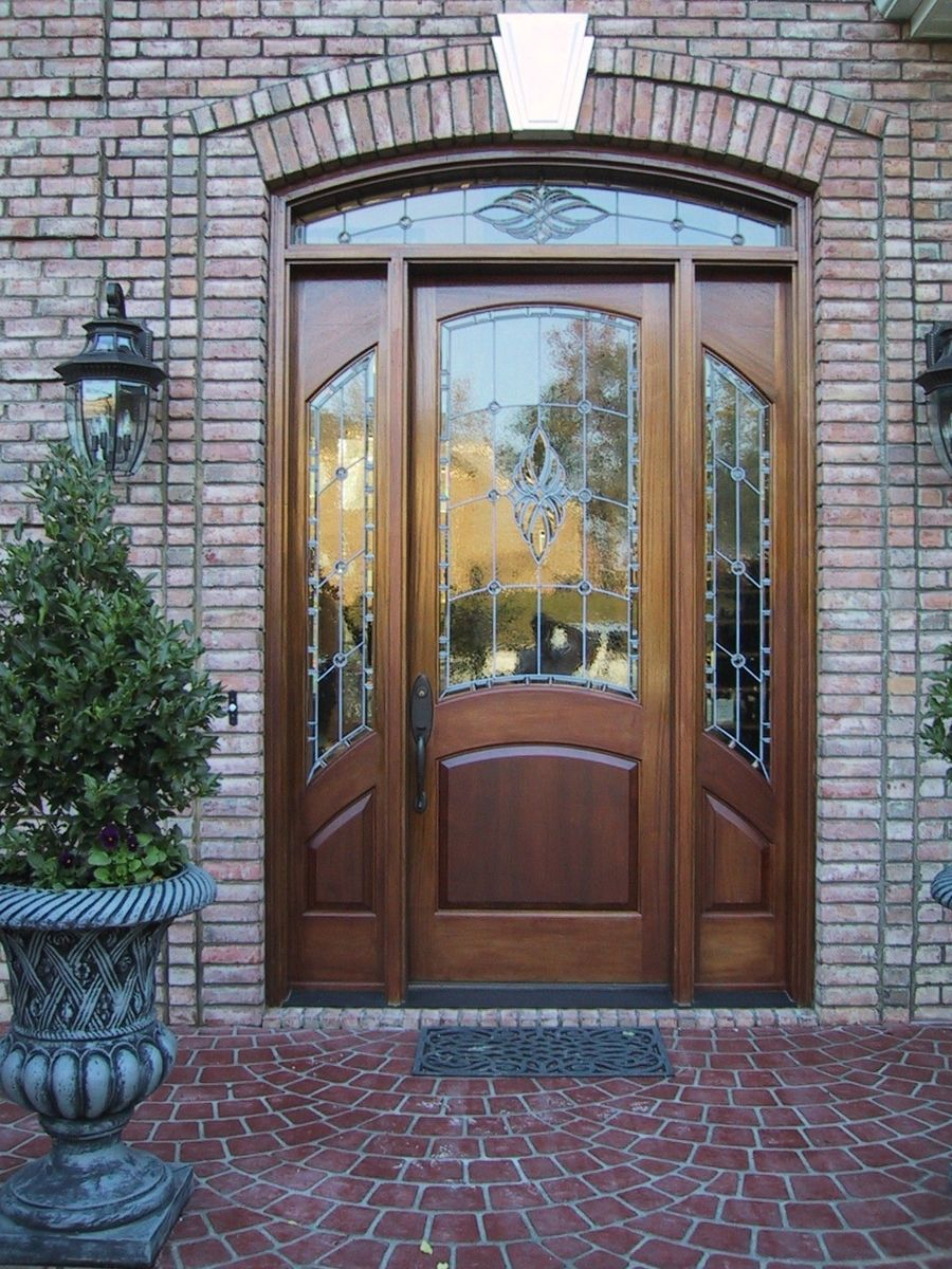 Custom Made Mahogany Stained Gl Door Charlotte Nc