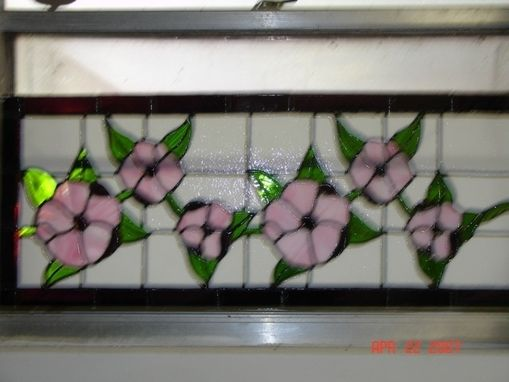 Custom Made Pink Hibiscus Stained Glass Panel