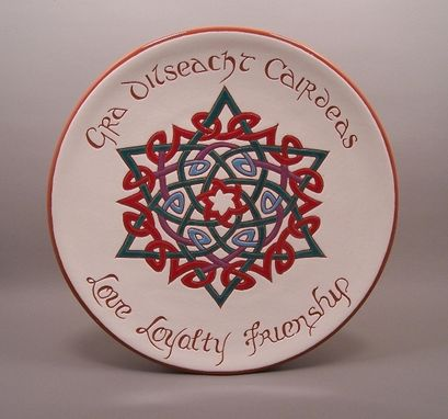 Custom Made Sgraffito Redware Celtic Knotwork Plate