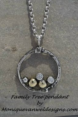 Custom Made Family Tree Necklace In Silver And 14k Recycled Gold