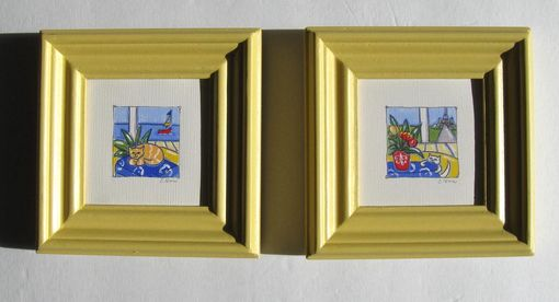 Custom Made Acrylic Cat Paintings Paris Decor Animal Paintings On Canvas Yellow Frames