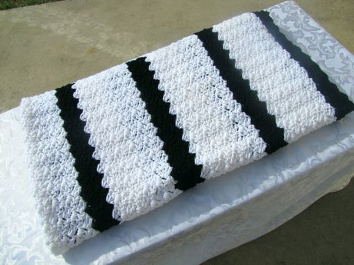 Custom Made Adult Size 70x54 Crochet Blanket In Black And White Stripes - Ships Fast & Free