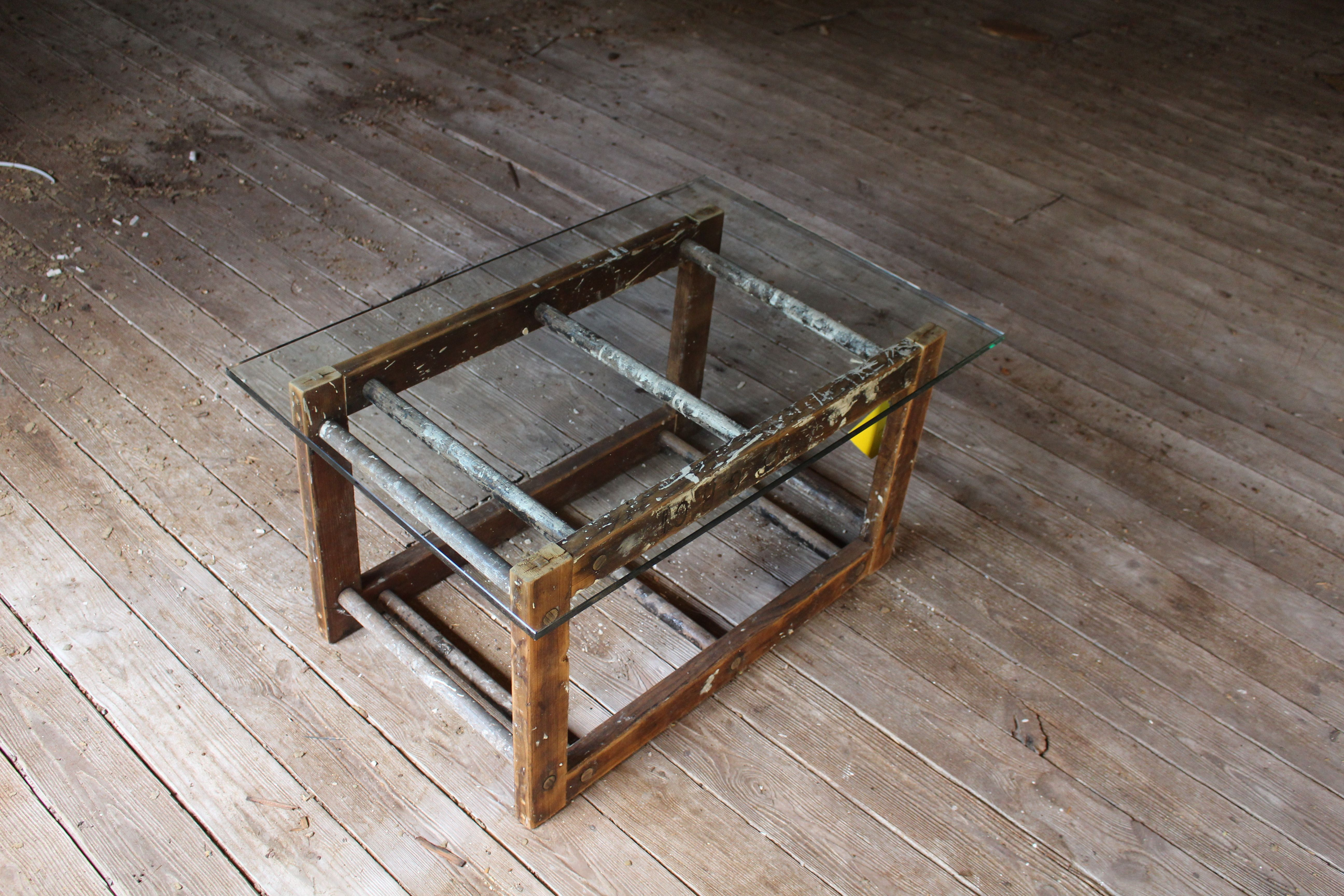 Custom Made Old Wood Ladder And Glass Coffee Table By Tim