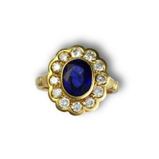 Custom Made Oval Sapphire & Diamond Ring - Floral Gold Ring - September Birthstone