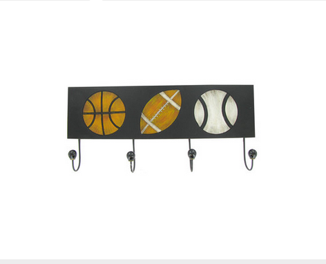 Custom Made Sports Balls Wall Art With Four Hooks