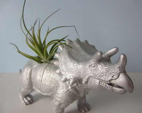 Custom Made Upcycled Dinosaur Planter - Extra Large Silver Triceratops With Tillandsia Air Plant