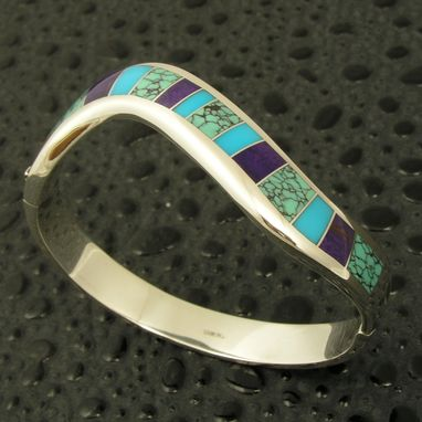 Custom Made Bracelet With Spiderweb Turquoise, Sugilite And Turquoise Inlay
