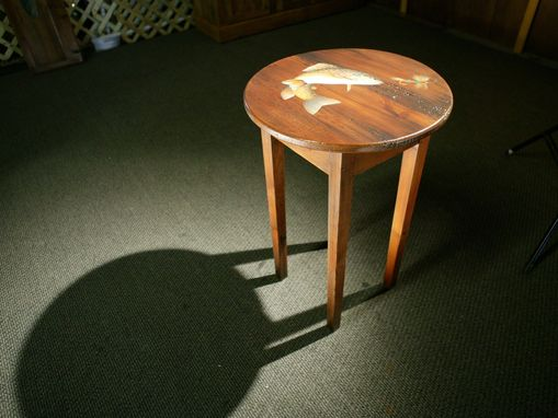 Custom Made Round End Table With Fish In Action