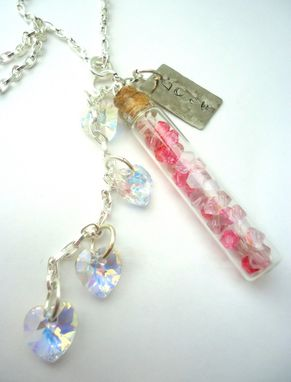 "Custom Made Pink Swarovski Crystal Hearts Glass Vial ""Love"" Necklace, ""Soul Verbs"""